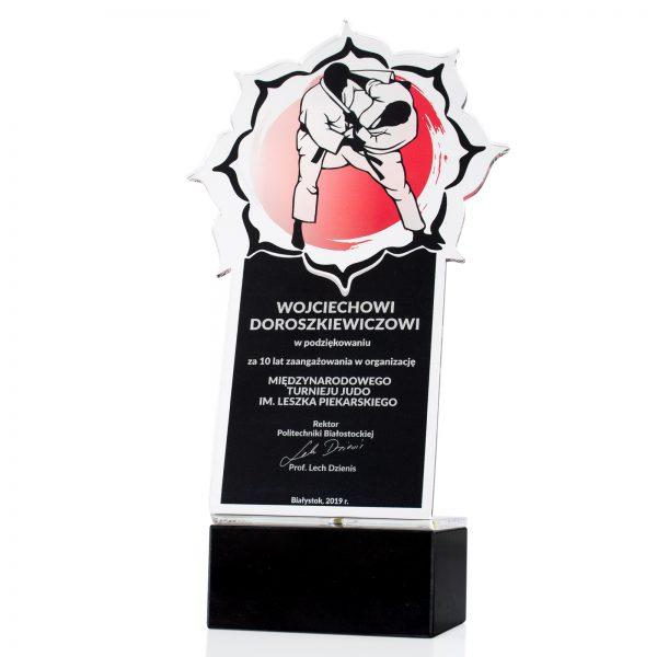 Statuetka na postumencie z pleksi na międzynarodowy turnieju judo