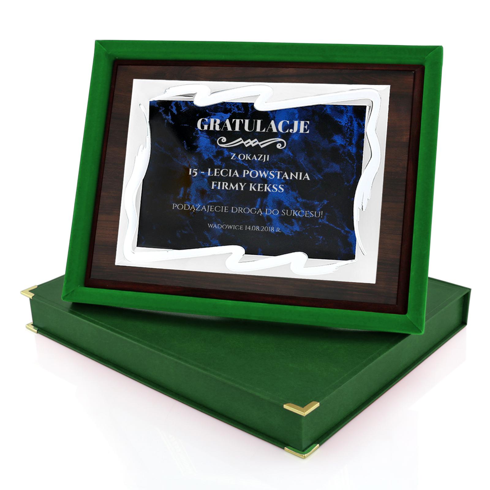 Drewniany Certyfikat Z Metalowa Tabliczka Na 15 Lecie Firmy