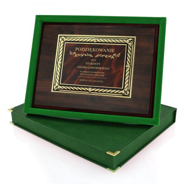 Drewniany certyfikat w etui na podziękowanie dla starosty