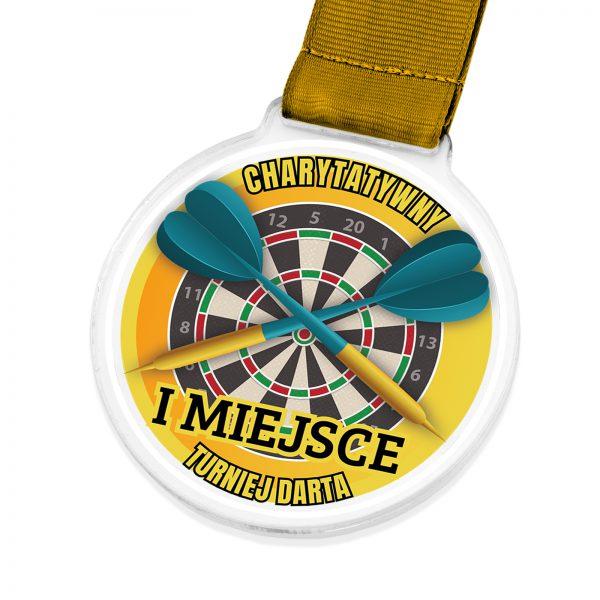 Medal z kolorowym nadrukiem na turniej darta