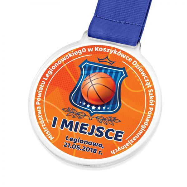 Medal z nadrukiem za udział w mistrzostwach powiatowych w koszykówce