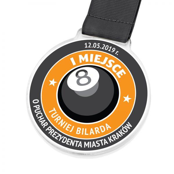 Medal sportowy z nadrukiem na turniej bilarda