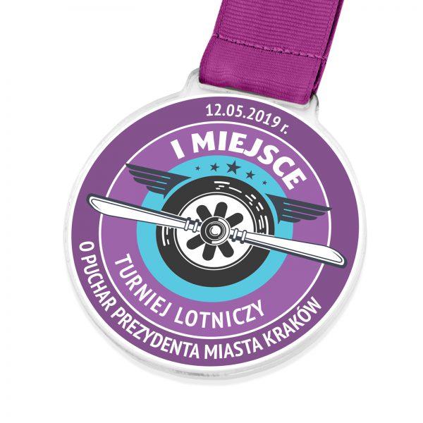 Okolicznościowy medal z pleksi na turniej lotniczy