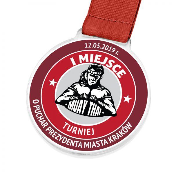 Medal sportowy z kolorowym nadrukiem na turniej Muay-Thai