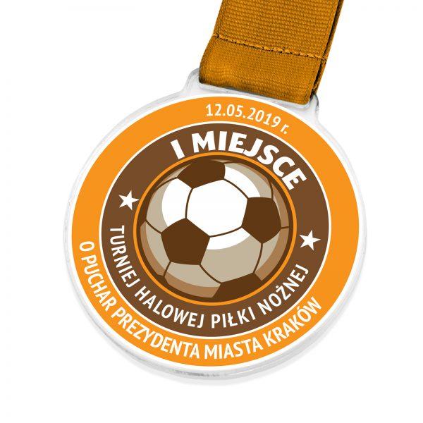 Medal z kolorowym nadrukiem na turniej Halowej Piłki Nożnej