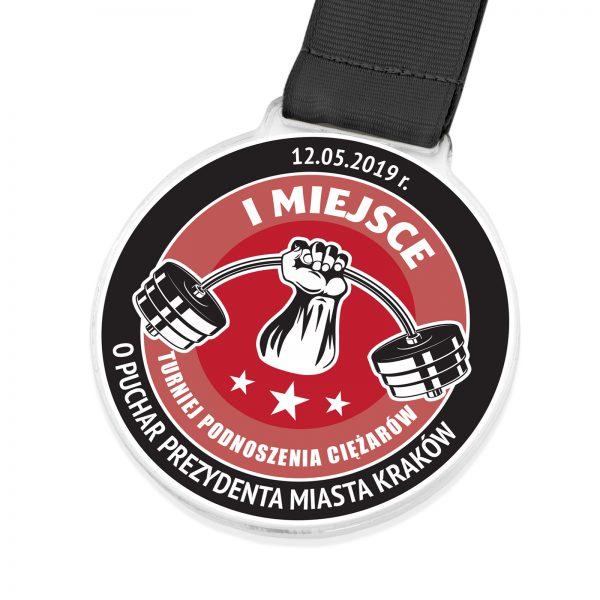 Medal sportowy z pleksi na turniej podnoszenia ciężarów