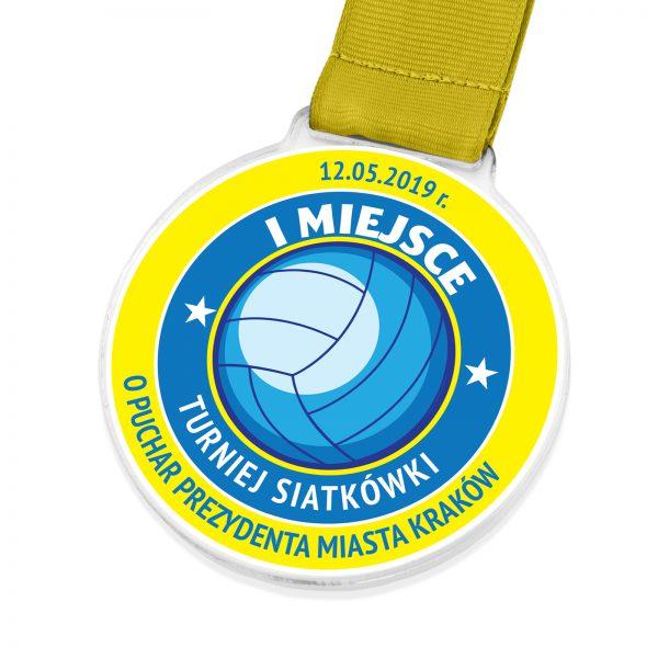 Medal z kolorowym nadrukiem na turniej siatkówki