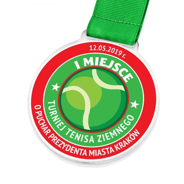 Medal sportowy z nadrukiem na turniej tenisa ziemnego
