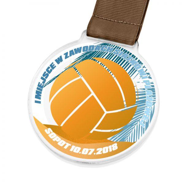 Medal z kolorowym nadrukiem na zawody siatkówki plażowej