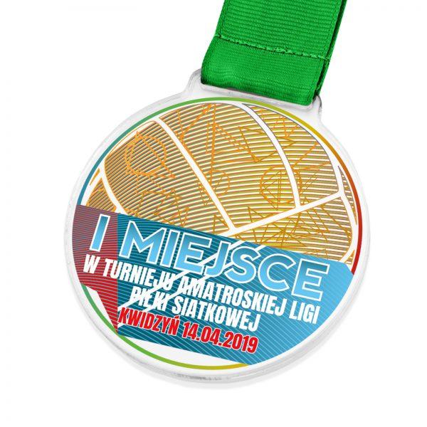 Medal sportowy z pleksi na turniej amatorskiej piłki siatkowej