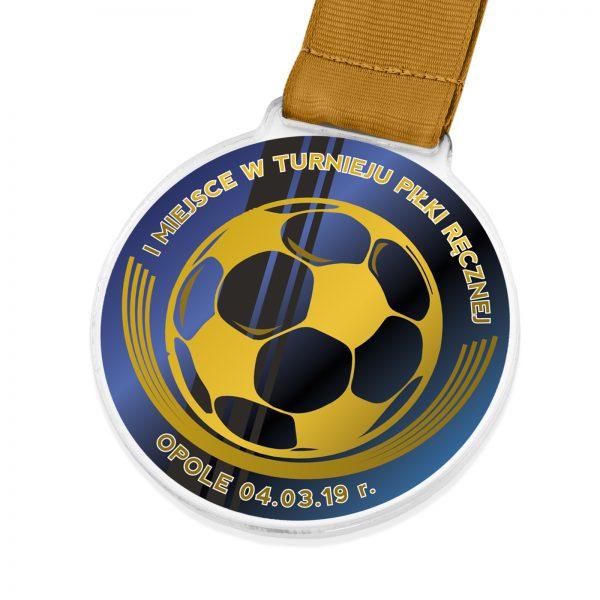 Sportowy medal z pleksi z nadrukiem na turniej piłki ręcznej