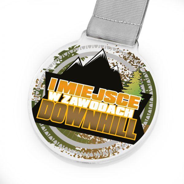 Medal z pleksi za zajęcie pierwszego miejsca w zawodach Downhill
