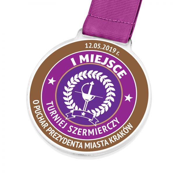 Sportowy medal z pleksi na turniej szermierczy o puchar prezydenta