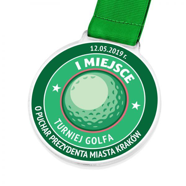 Medal z kolorowym nadrukiem na turniej golfa