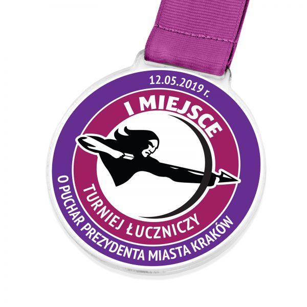 Okolicznościowy medal z pleksi na turniej łuczniczy