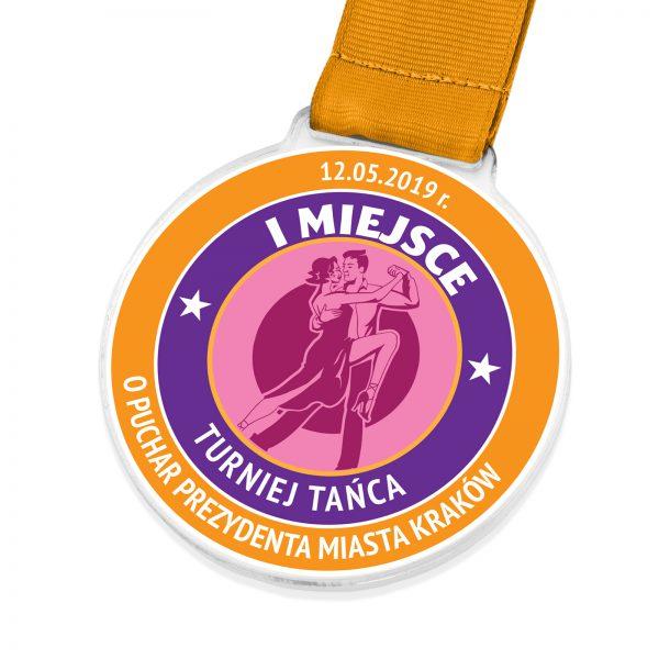 Medal z kolorowym nadrukiem na turniej tańca towarzyskiego