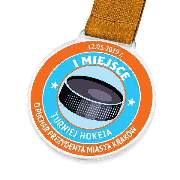 Medal z pleksi z kolorowym nadrukiem na turniej hokeja