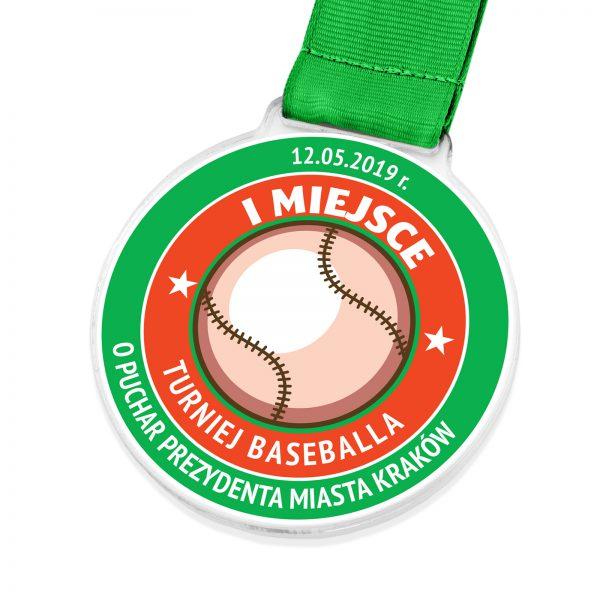 Medal z pleksi z kolorowym nadrukiem na turniej baseballa