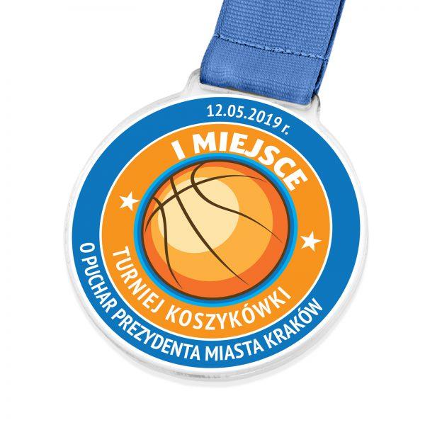 Medal z przeźroczystej pleksi na turniej koszykówki