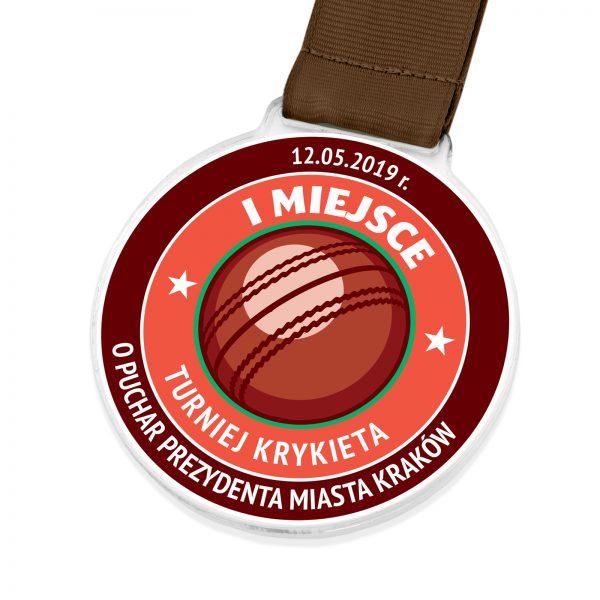 Medal sportowy z indywidualnym nadrukiem na turniej Krykieta