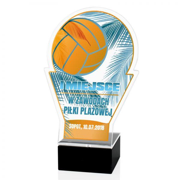 Statuetka na marmurowym postumencie na zawody piłki plażowej