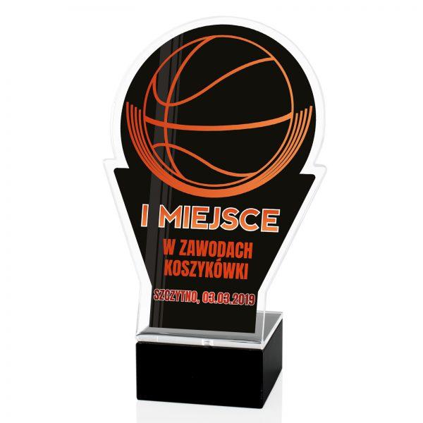 Sportowa statuetka z pleksi z udział w zawodach koszykówki