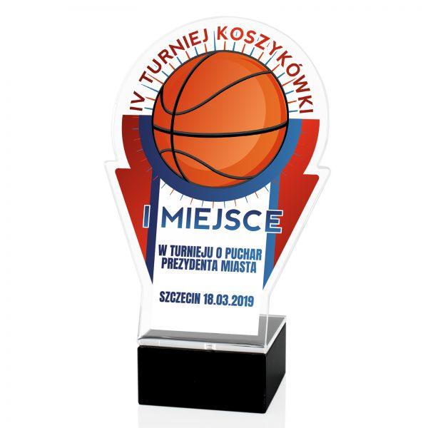 Statuetka z pleksi z nadrukiem na turniej koszykówki
