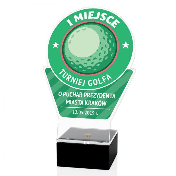 Statuetka z pleksi na postumencie marmurowym na turniej golfa