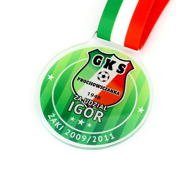 Medal na zawody piłkarskie z kolorowym nadrukiem