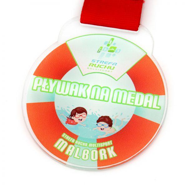 Medal z pleksi z nadrukiem dla dzieci na zawody pływackie