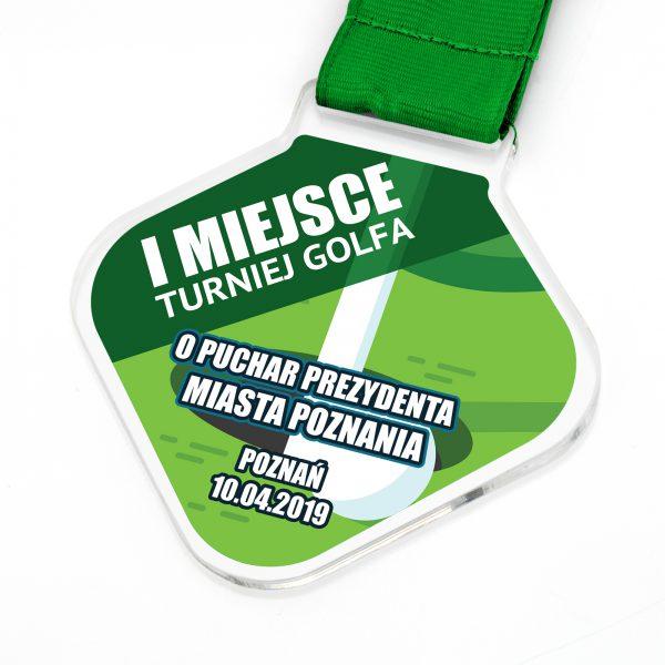 Medal z pleksi z indywidualnym nadrukiem na turniej Golfa