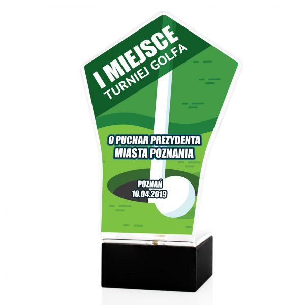 Statuetka z pleksi na postumencie na turniej Golfa