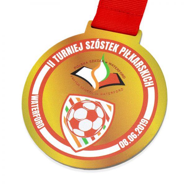 Metalowy medal z nadrukiem na Turniej Szóstek Piłkarskich