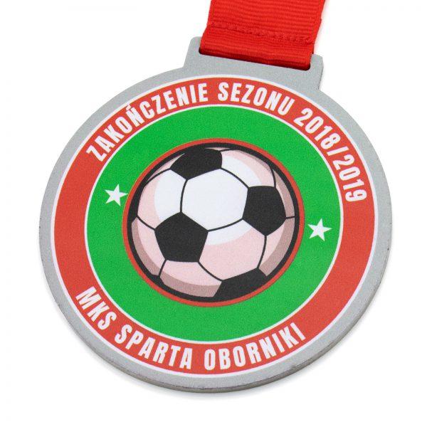 Metalowy medal piłkarski z nadrukiem na zakończenie sezonu