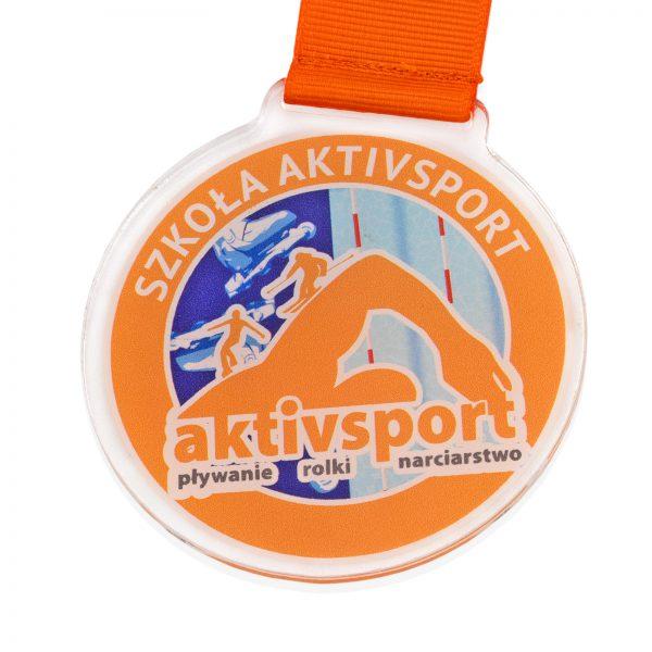 Medal z pleksi z kolorowym nadrukiem na zawody sportowe
