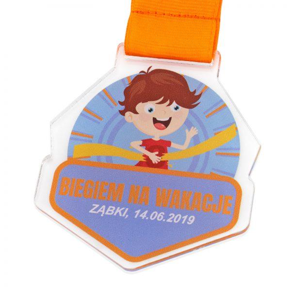 Medal z pleksi z nadrukiem dla dzieci Biegiem na Wakacje!