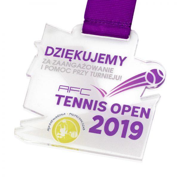 Medal sportowy z pleksi z kolorowym nadrukiem na Turniej Tenisa