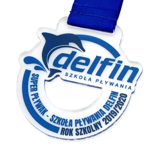 Medal z przeźroczystej pleksi dla dzieci na Zawody Pływackie