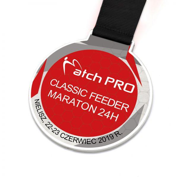 Stalowy medal sportowy z nadrukiem na Maraton wędkarski