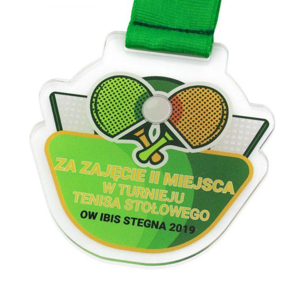 Medal z pleksi z nadrukiem na Turniej Tenisa Stołowego