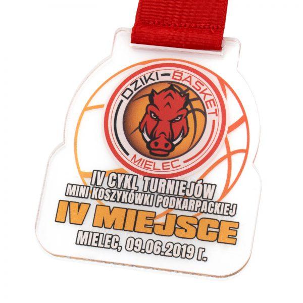 Medal z pleksi z nadrukiem na Turniej Koszykówki