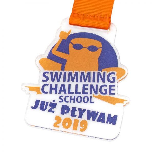 Medal z nadrukiem wykonany z pleksi na Zawody Pływackie dla dzieci