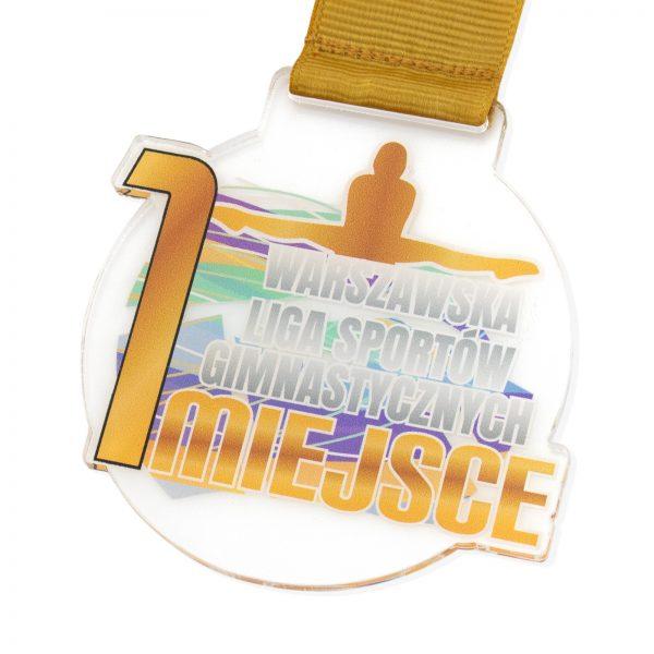 Medal z pleksi z nadrukiem Warszawska Liga Sportów Gimnastycznych