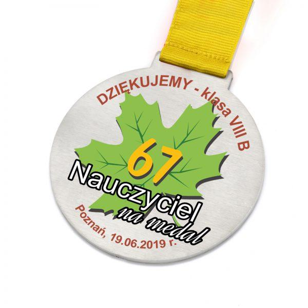 Stalowy medal z nadrukiem dla Nauczyciela na podziękowanie