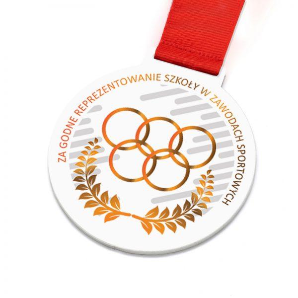 Metalowy medal z nadrukiem dla dzieci za Reprezentowanie Szkoły w Zawodach Sportowych
