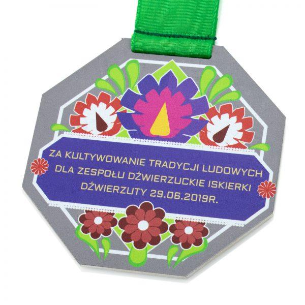 Medal z kolorowym nadrukiem z metalu za Kultywowanie Tradycji Ludowych