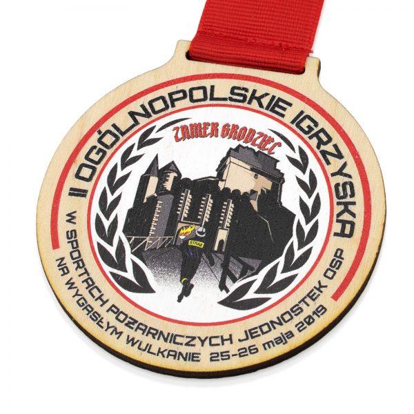 Drewniany medal z nadrukiem na Ogólnopolskie Zawody Strażackie