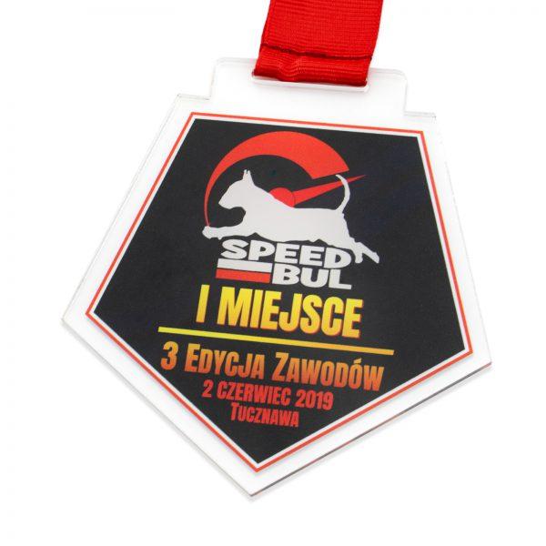 Sportowy medal z pleksi na wyścigi psów w zawodach Speed bul