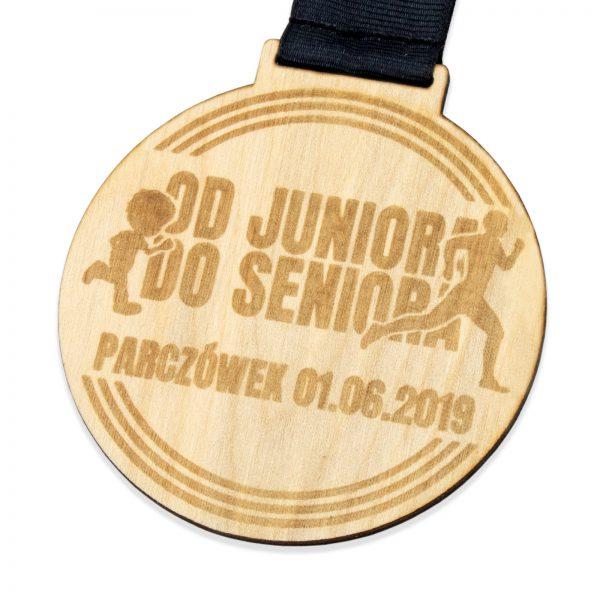 Drewniany medal z grawerem na Zawody Biegowe