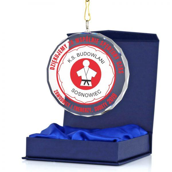 Szklany medal sportowy z nadrukiem dla Judoki